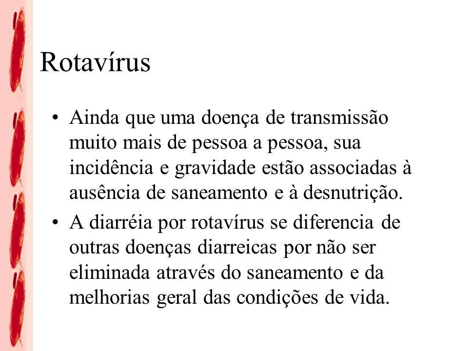 Rotavírus Nos primeiros 5 anos de vida no Brasil: 1 em 5 crianças (168 por 1.000) busca atendimento ambulatorial devido a RV 1 em 30 crianças (35 por 1.000) é internada devido a doença por RV 1 em 1.400 crianças (0,6 por 1.000) morre devido a doença por RV Fonte: Constenla D et al.