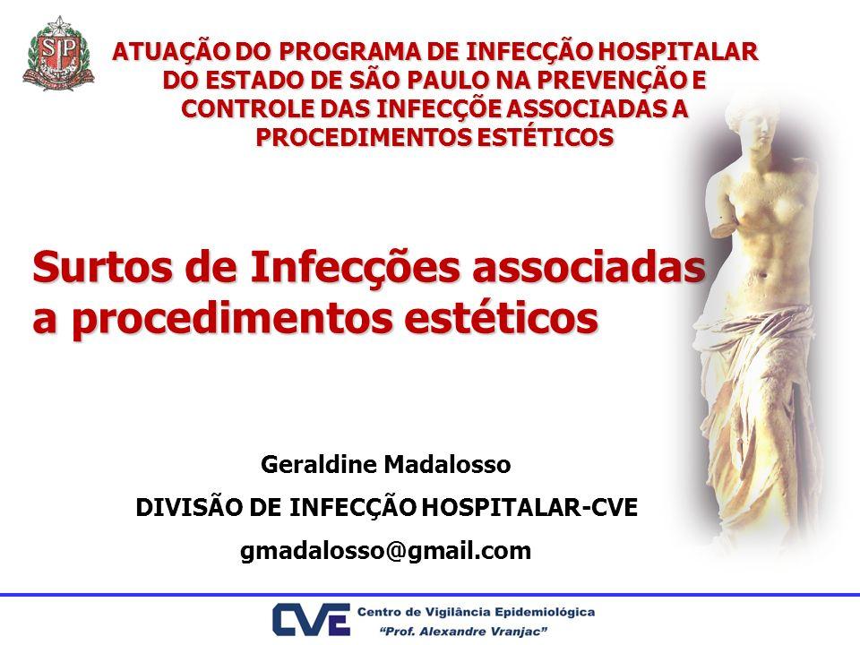 Surtos de Infecções associadas a procedimentos estéticos Geraldine Madalosso DIVISÃO DE INFECÇÃO HOSPITALAR-CVE gmadalosso@gmail.com ATUAÇÃO DO PROGRA