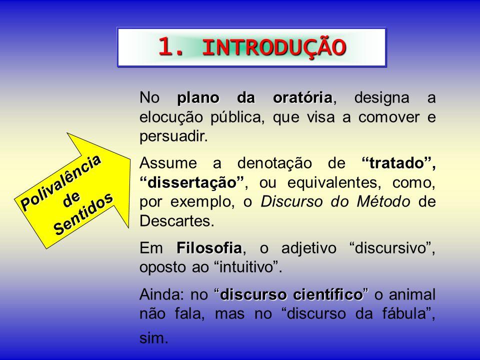 1. INTRODUÇÃO plano da oratória No plano da oratória, designa a elocução pública, que visa a comover e persuadir. tratado, dissertação Assume a denota