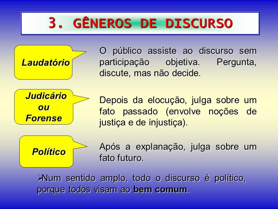 3. GÊNEROS DE DISCURSO Laudatório Laudatório Judicário JudicárioouForense Político Político Após a explanação, julga sobre um fato futuro. Num sentido