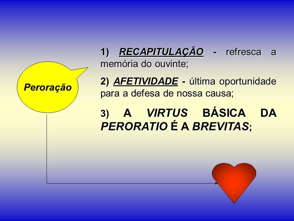 1) RECAPITULAÇÃO - refresca a memória do ouvinte; 2) AFETIVIDADE - última oportunidade para a defesa de nossa causa; 3) A VIRTUS BÁSICA DA PERORATIO É