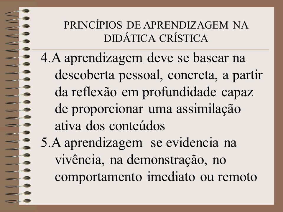 PRINCÍPIOS DE APRENDIZAGEM NA DIDÁTICA CRÍSTICA 4.A aprendizagem deve se basear na descoberta pessoal, concreta, a partir da reflexão em profundidade