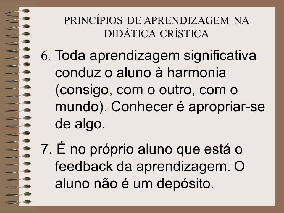 PRINCÍPIOS DE APRENDIZAGEM NA DIDÁTICA CRÍSTICA 6. Toda aprendizagem significativa conduz o aluno à harmonia (consigo, com o outro, com o mundo). Conh