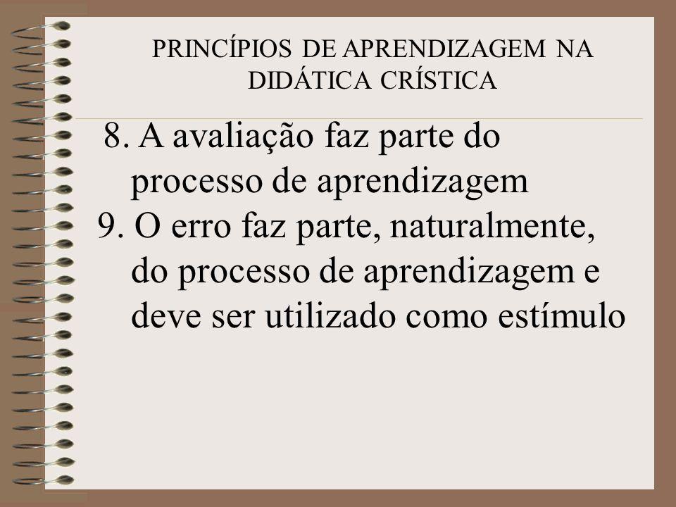 PRINCÍPIOS DE APRENDIZAGEM NA DIDÁTICA CRÍSTICA 8. A avaliação faz parte do processo de aprendizagem 9. O erro faz parte, naturalmente, do processo de