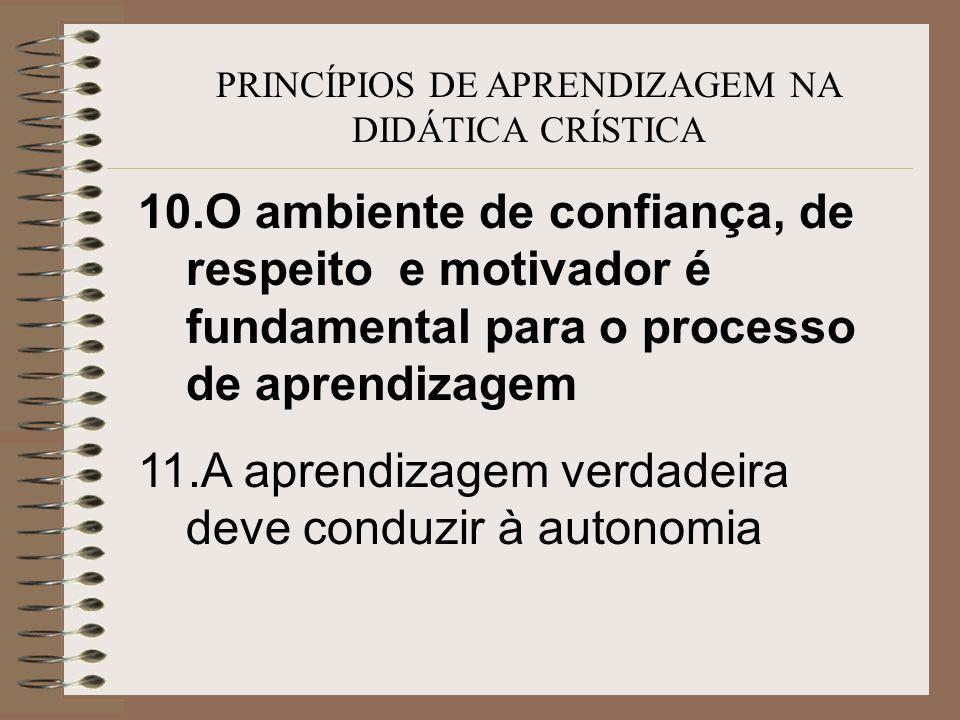 PRINCÍPIOS DE APRENDIZAGEM NA DIDÁTICA CRÍSTICA 10.O ambiente de confiança, de respeito e motivador é fundamental para o processo de aprendizagem 11.A