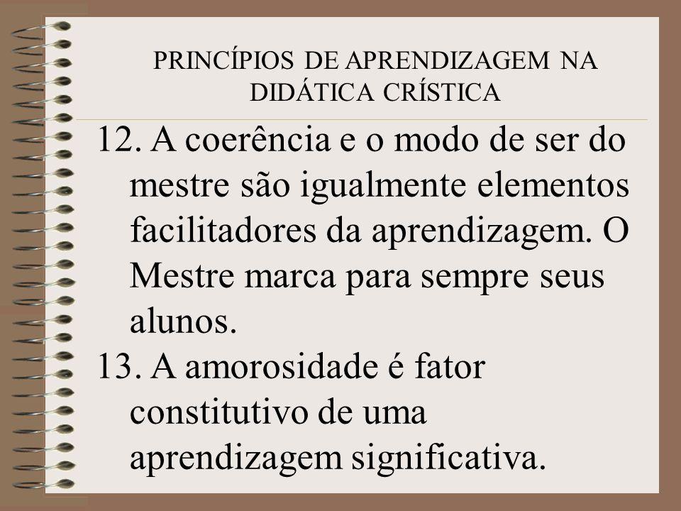 PRINCÍPIOS DE APRENDIZAGEM NA DIDÁTICA CRÍSTICA 12. A coerência e o modo de ser do mestre são igualmente elementos facilitadores da aprendizagem. O Me