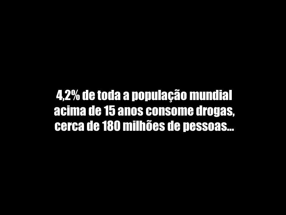 4,2% de toda a população mundial acima de 15 anos consome drogas, cerca de 180 milhões de pessoas...