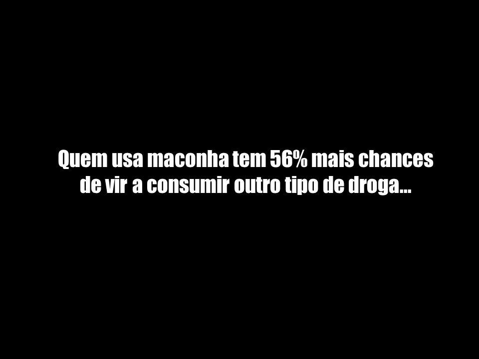 Quem usa maconha tem 56% mais chances de vir a consumir outro tipo de droga...