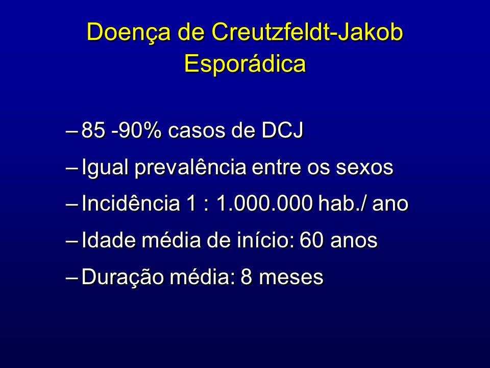 Doença de Creutzfeldt-Jakob Esporádica –85 -90% casos de DCJ –Igual prevalência entre os sexos –Incidência 1 : 1.000.000 hab./ ano –Idade média de iní