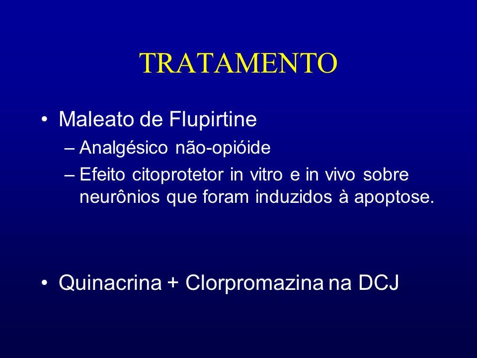 TRATAMENTO Maleato de Flupirtine –Analgésico não-opióide –Efeito citoprotetor in vitro e in vivo sobre neurônios que foram induzidos à apoptose. Quina