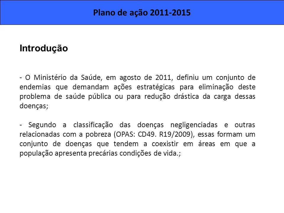 Plano de ação 2011-2015 Introdução - O Ministério da Saúde, em agosto de 2011, definiu um conjunto de endemias que demandam ações estratégicas para el