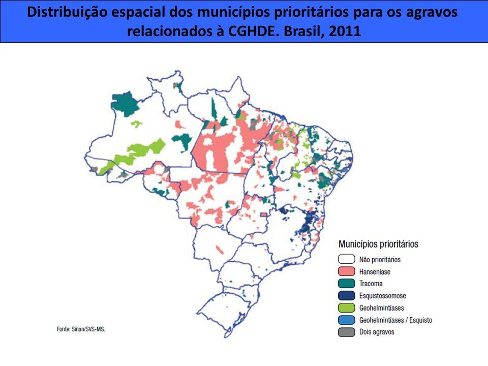 Distribuição espacial dos municípios prioritários para os agravos relacionados à CGHDE. Brasil, 2011