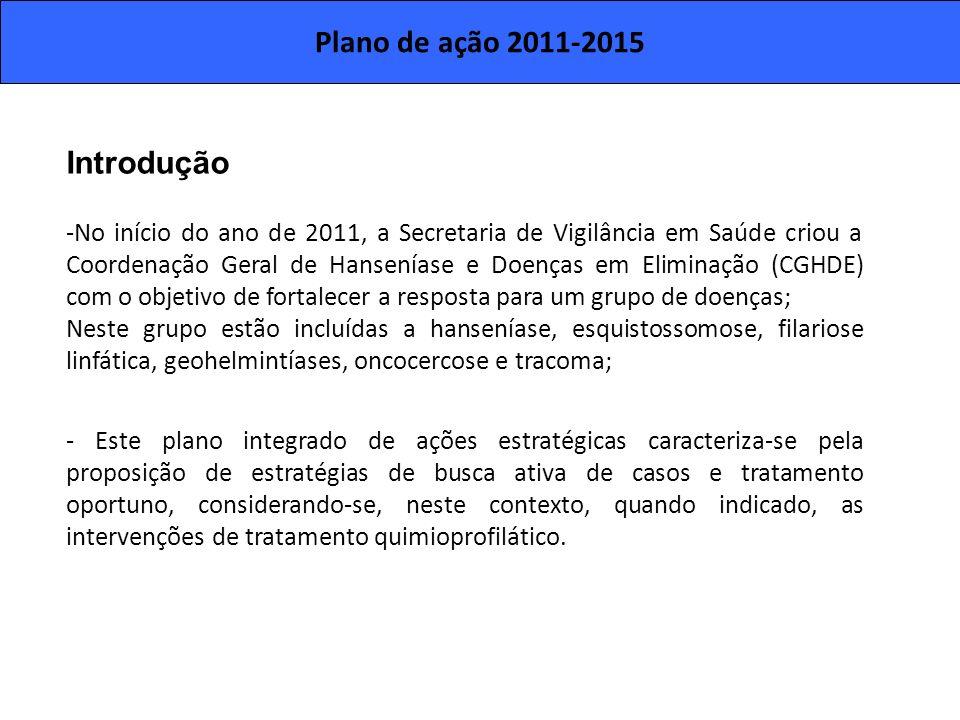 Plano de ação 2011-2015 Introdução -No início do ano de 2011, a Secretaria de Vigilância em Saúde criou a Coordenação Geral de Hanseníase e Doenças em