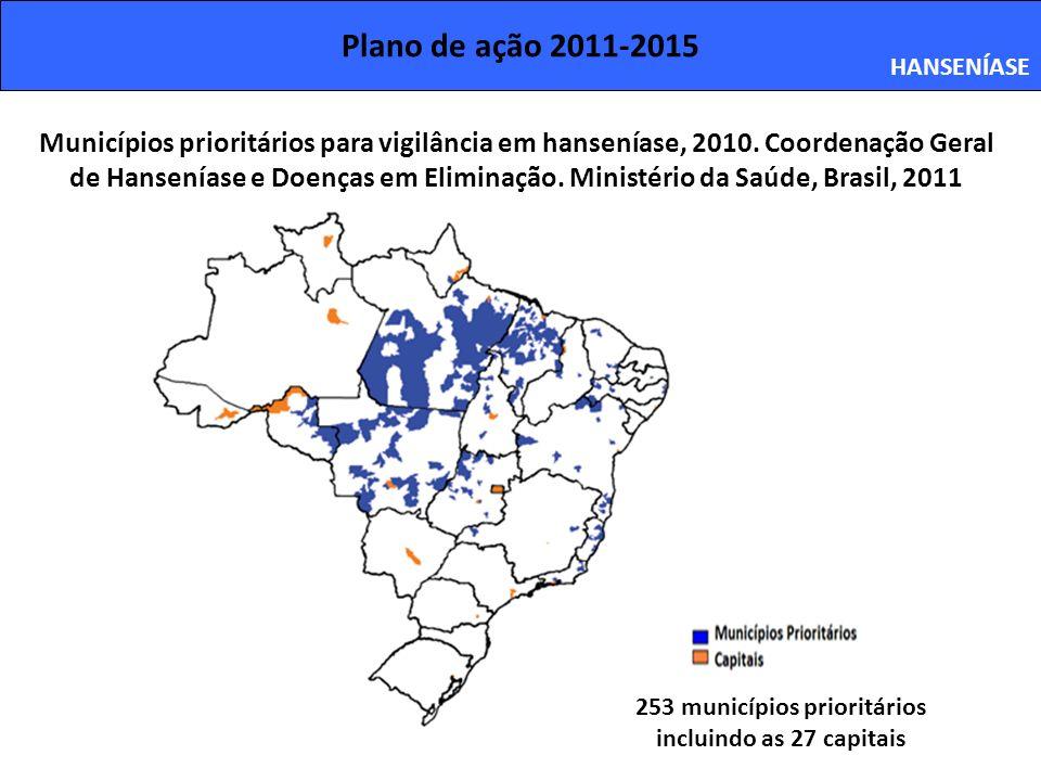 Plano de ação 2011-2015 HANSENÍASE 253 municípios prioritários incluindo as 27 capitais Municípios prioritários para vigilância em hanseníase, 2010. C