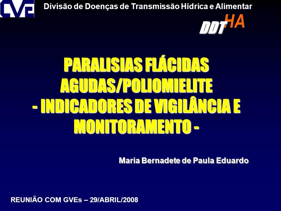 PARALISIAS FLÁCIDAS AGUDAS/POLIOMIELITE - INDICADORES DE VIGILÂNCIA E MONITORAMENTO - Divisão de Doenças de Transmissão Hídrica e Alimentar Maria Bern
