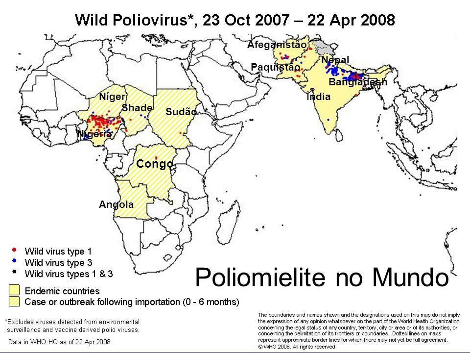 VIGILÂNCIA DA POLIOMIELITE/PFA Eixos:Eixos: –Prevenção: Coberturas vacinais altas (vacinação de rotina e campanhas nacionais); –Vigilância das PFA: Identificação precoce de caso de pólio Notificação imediata todo caso PFA = Tx Notificação Investigação em 48 horas Coleta oportuna de fezes = Tx Coleta Oportuna –(até o 14º dia do início do déficit motor) Monitoramento de todos os casos de PFA - notificação negativa semanal Revisita e encerramento do caso em 60 dias do início do déficit motor Busca Ativa - medida complementar para identificar casos não notificados e tomada de medidas em relação aos serviços não notificantes –Monitoramento Ambiental do Poliovírus