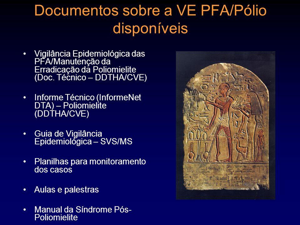 Documentos sobre a VE PFA/Pólio disponíveis Vigilância Epidemiológica das PFA/Manutenção da Erradicação da Poliomielite (Doc. Técnico – DDTHA/CVE) Inf