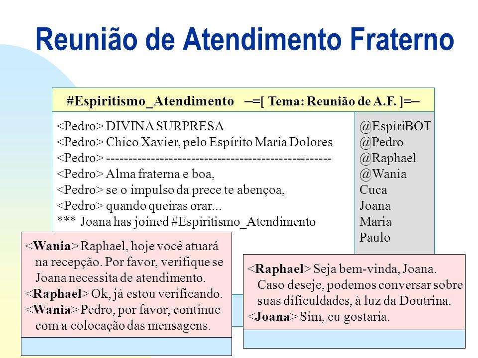 Reunião de Atendimento Fraterno DIVINA SURPRESA Chico Xavier, pelo Espírito Maria Dolores --------------------------------------------------- Alma fra