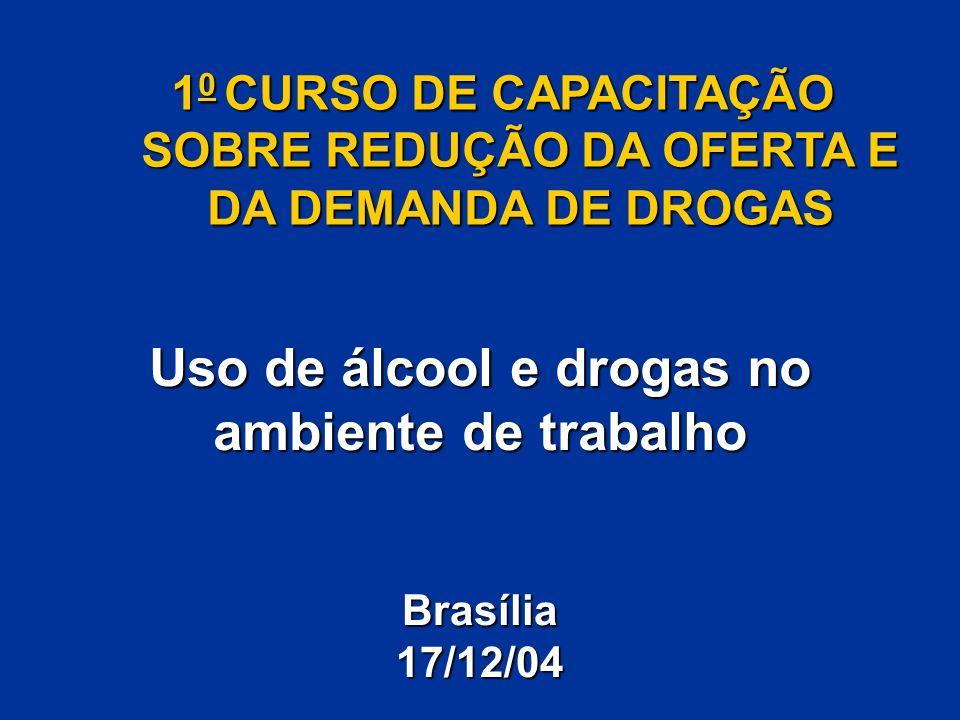 Uso de álcool e drogas no ambiente de trabalho 1 0 CURSO DE CAPACITAÇÃO SOBRE REDUÇÃO DA OFERTA E DA DEMANDA DE DROGAS Brasília17/12/04