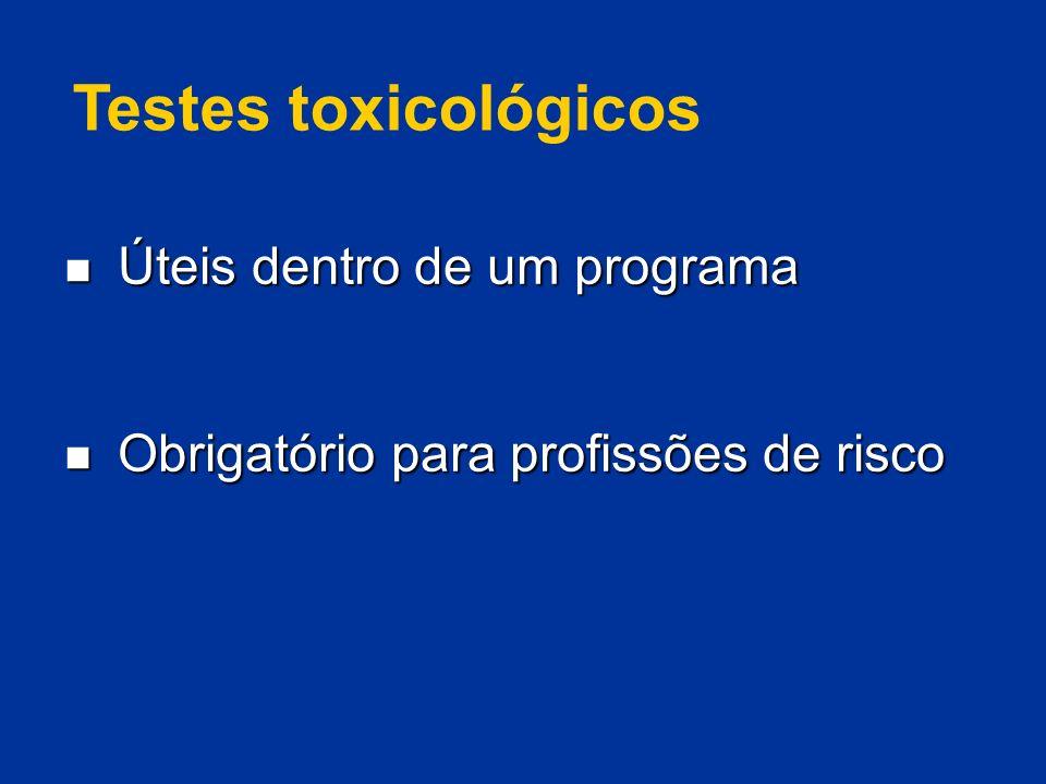 Testes toxicológicos Úteis dentro de um programa Úteis dentro de um programa Obrigatório para profissões de risco Obrigatório para profissões de risco