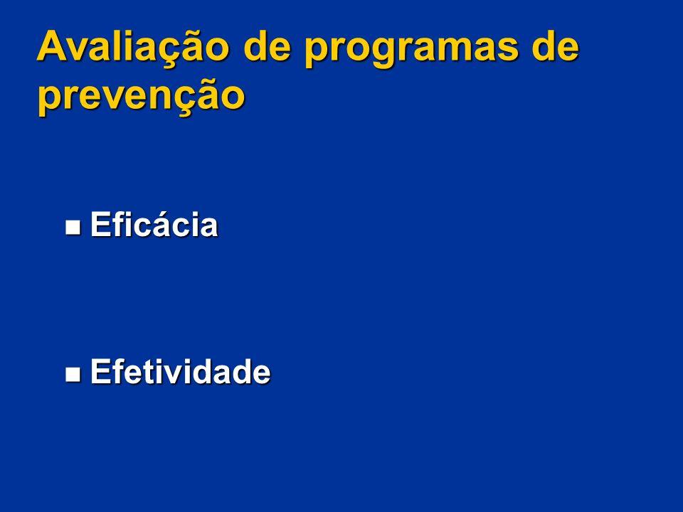 Avaliação de programas de prevenção Eficácia Eficácia Efetividade Efetividade