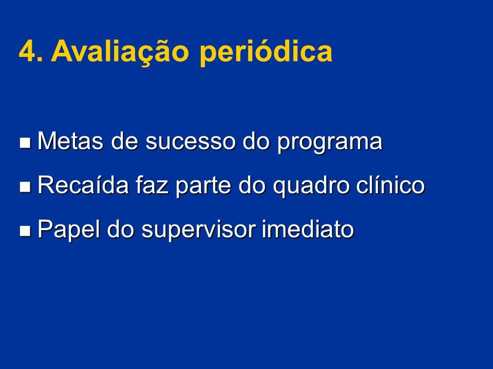 4. Avaliação periódica Metas de sucesso do programa Metas de sucesso do programa Recaída faz parte do quadro clínico Recaída faz parte do quadro clíni