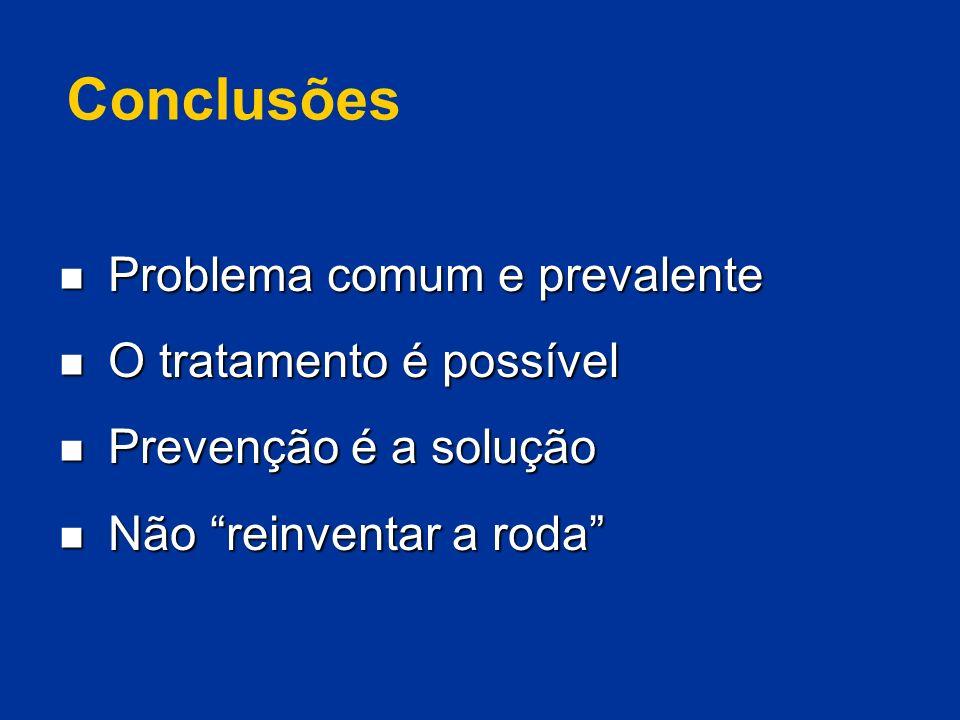 Conclusões Problema comum e prevalente Problema comum e prevalente O tratamento é possível O tratamento é possível Prevenção é a solução Prevenção é a