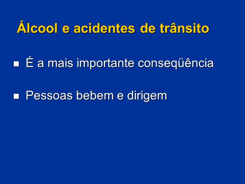Álcool e acidentes de trânsito É a mais importante conseqüência É a mais importante conseqüência Pessoas bebem e dirigem Pessoas bebem e dirigem