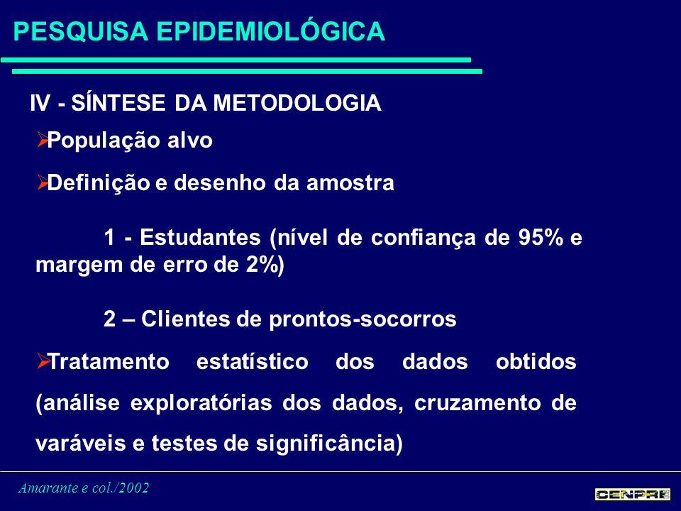 Amarante e col./2002 PESQUISA EPIDEMIOLÓGICA IV - SÍNTESE DA METODOLOGIA População alvo Definição e desenho da amostra 1 - Estudantes (nível de confiança de 95% e margem de erro de 2%) 2 – Clientes de prontos-socorros Tratamento estatístico dos dados obtidos (análise exploratórias dos dados, cruzamento de varáveis e testes de significância)