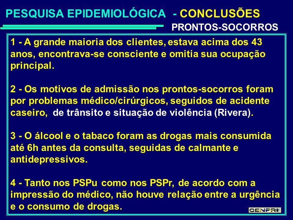 PESQUISA EPIDEMIOLÓGICA - CONCLUSÕES PRONTOS-SOCORROS 1 - A grande maioria dos clientes, estava acima dos 43 anos, encontrava-se consciente e omitia sua ocupação principal.