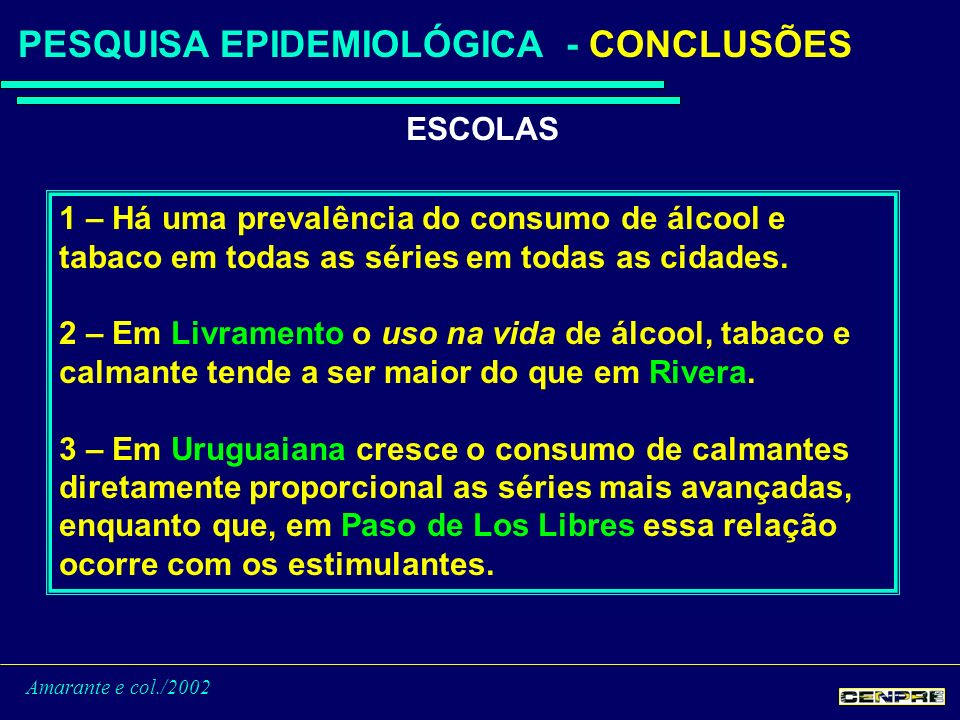 Amarante e col./2002 PESQUISA EPIDEMIOLÓGICA - CONCLUSÕES ESCOLAS 1 – Há uma prevalência do consumo de álcool e tabaco em todas as séries em todas as cidades.
