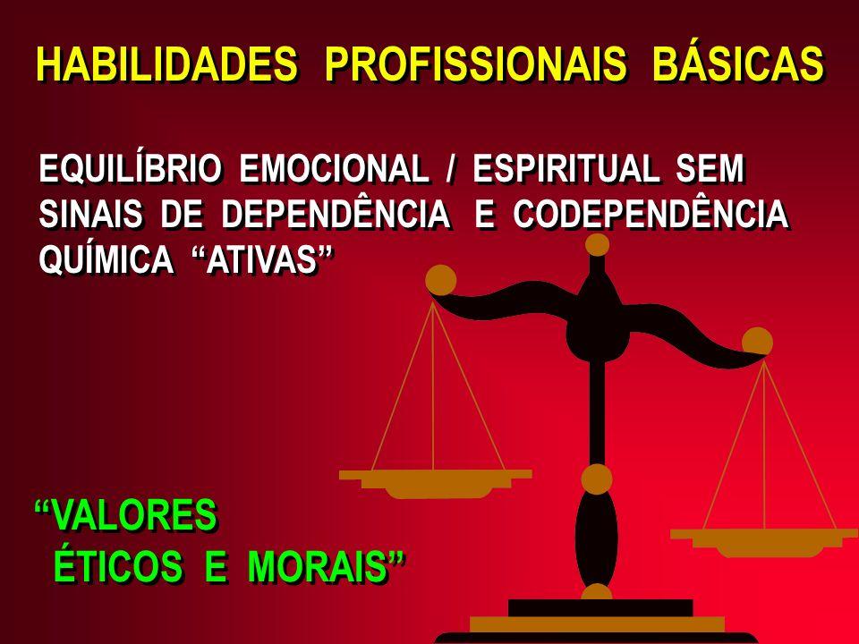 EQUILÍBRIO EMOCIONAL / ESPIRITUAL SEM SINAIS DE DEPENDÊNCIA E CODEPENDÊNCIA QUÍMICA ATIVAS VALORES ÉTICOS E MORAIS VALORES ÉTICOS E MORAIS HABILIDADES PROFISSIONAIS BÁSICAS