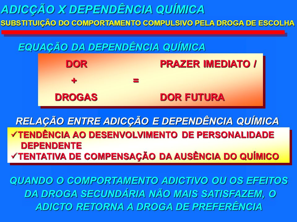 DORPRAZER IMEDIATO / DORPRAZER IMEDIATO / + = + = DROGAS DOR FUTURA DROGAS DOR FUTURA DORPRAZER IMEDIATO / DORPRAZER IMEDIATO / + = + = DROGAS DOR FUTURA DROGAS DOR FUTURA ADICÇÃO X DEPENDÊNCIA QUÍMICA SUBSTITUIÇÃO DO COMPORTAMENTO COMPULSIVO PELA DROGA DE ESCOLHA TENDÊNCIA AO DESENVOLVIMENTO DE PERSONALIDADE TENDÊNCIA AO DESENVOLVIMENTO DE PERSONALIDADE DEPENDENTE DEPENDENTE TENTATIVA DE COMPENSAÇÃO DA AUSÊNCIA DO QUÍMICO TENTATIVA DE COMPENSAÇÃO DA AUSÊNCIA DO QUÍMICO TENDÊNCIA AO DESENVOLVIMENTO DE PERSONALIDADE TENDÊNCIA AO DESENVOLVIMENTO DE PERSONALIDADE DEPENDENTE DEPENDENTE TENTATIVA DE COMPENSAÇÃO DA AUSÊNCIA DO QUÍMICO TENTATIVA DE COMPENSAÇÃO DA AUSÊNCIA DO QUÍMICO EQUAÇÃO DA DEPENDÊNCIA QUÍMICA RELAÇÃO ENTRE ADICÇÃO E DEPENDÊNCIA QUÍMICA QUANDO O COMPORTAMENTO ADICTIVO OU OS EFEITOS DA DROGA SECUNDÁRIA NÃO MAIS SATISFAZEM, O DA DROGA SECUNDÁRIA NÃO MAIS SATISFAZEM, O ADICTO RETORNA A DROGA DE PREFERÊNCIA
