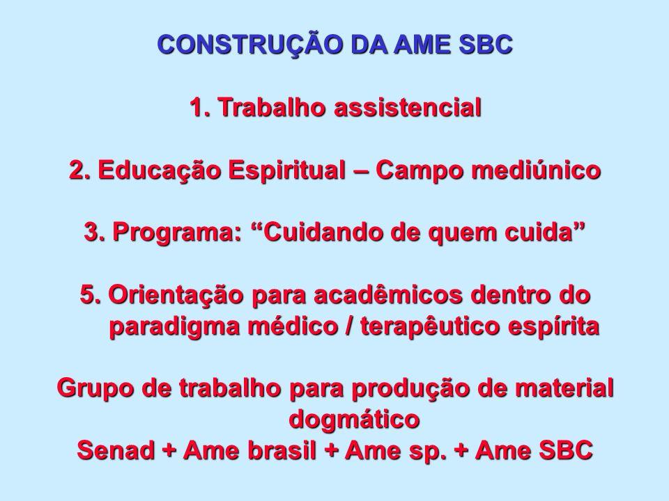 CONSTRUÇÃO DA AME SBC 1. Trabalho assistencial 2.