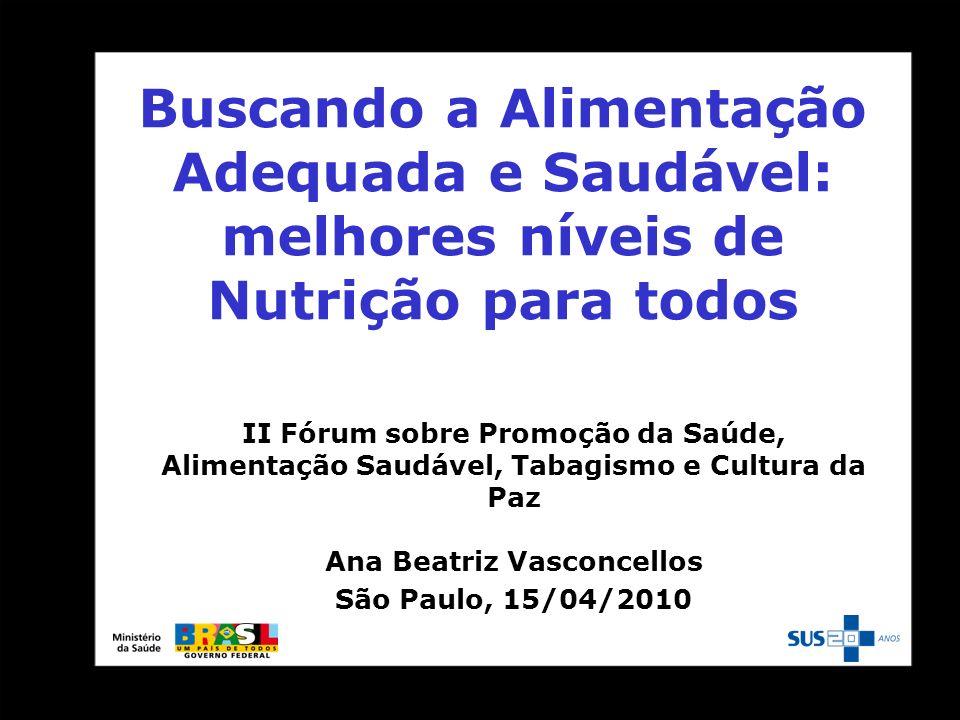 Buscando a Alimentação Adequada e Saudável: melhores níveis de Nutrição para todos II Fórum sobre Promoção da Saúde, Alimentação Saudável, Tabagismo e