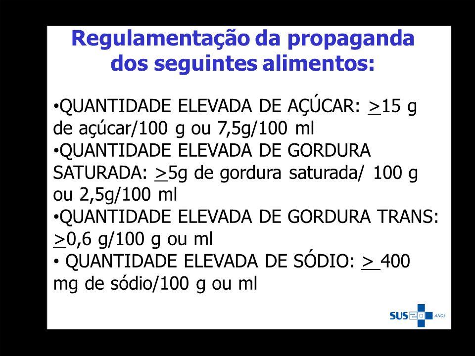 Regulamentação da propaganda dos seguintes alimentos: QUANTIDADE ELEVADA DE AÇÚCAR: >15 g de açúcar/100 g ou 7,5g/100 ml QUANTIDADE ELEVADA DE GORDURA