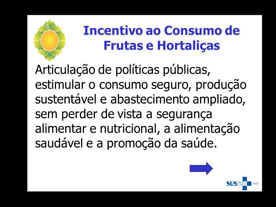 Incentivo ao Consumo de Frutas e Hortaliças Articulação de políticas públicas, estimular o consumo seguro, produção sustentável e abastecimento amplia