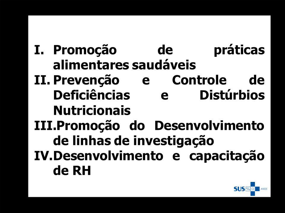 I.Promoção de práticas alimentares saudáveis II.Prevenção e Controle de Deficiências e Distúrbios Nutricionais III.Promoção do Desenvolvimento de linh