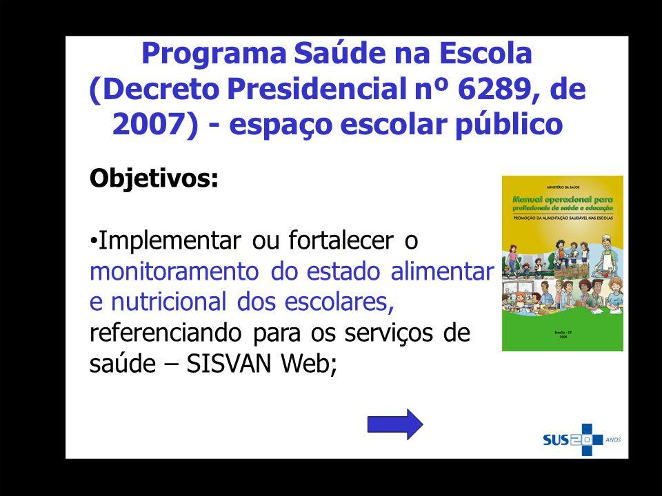 Objetivos: Implementar ou fortalecer o monitoramento do estado alimentar e nutricional dos escolares, referenciando para os serviços de saúde – SISVAN