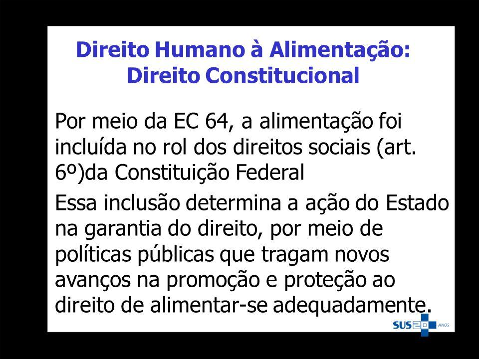 Direito Humano à Alimentação: Direito Constitucional Por meio da EC 64, a alimentação foi incluída no rol dos direitos sociais (art. 6º)da Constituiçã