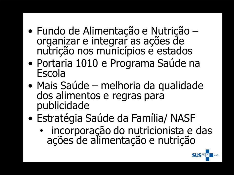 Fundo de Alimentação e Nutrição – organizar e integrar as ações de nutrição nos municípios e estados Portaria 1010 e Programa Saúde na Escola Mais Saú