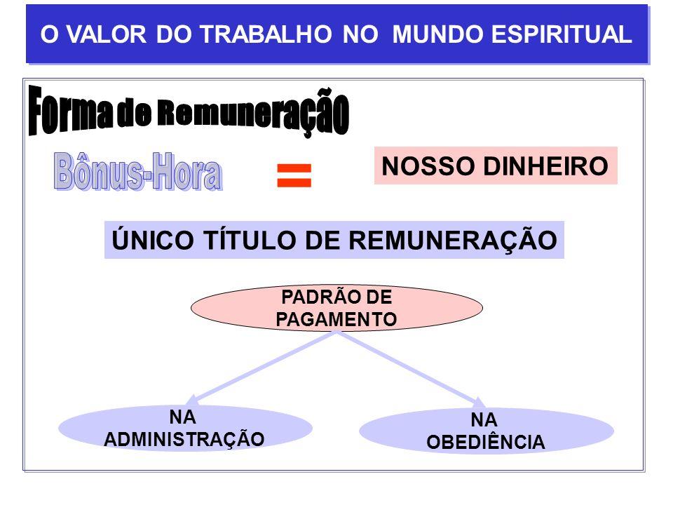 = NOSSO DINHEIRO ÚNICO TÍTULO DE REMUNERAÇÃO PADRÃO DE PAGAMENTO NA ADMINISTRAÇÃO NA OBEDIÊNCIA O VALOR DO TRABALHO NO MUNDO ESPIRITUAL