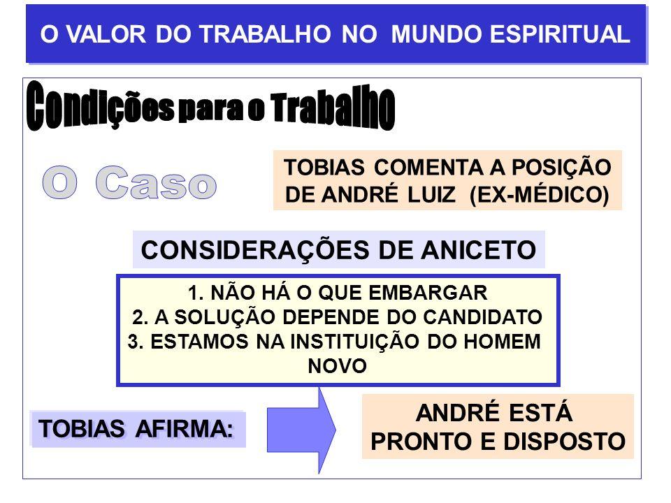TOBIAS COMENTA A POSIÇÃO DE ANDRÉ LUIZ (EX-MÉDICO) CONSIDERAÇÕES DE ANICETO 1. NÃO HÁ O QUE EMBARGAR 2. A SOLUÇÃO DEPENDE DO CANDIDATO 3. ESTAMOS NA I