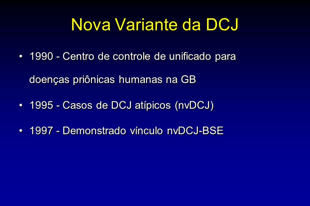 Nova Variante da DCJ 1990 - Centro de controle de unificado para doenças priônicas humanas na GB 1995 - Casos de DCJ atípicos (nvDCJ) 1997 - Demonstrado vínculo nvDCJ-BSE 1990 - Centro de controle de unificado para doenças priônicas humanas na GB 1995 - Casos de DCJ atípicos (nvDCJ) 1997 - Demonstrado vínculo nvDCJ-BSE