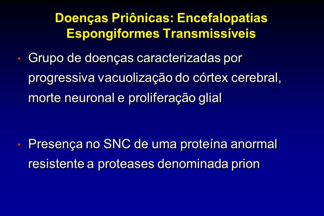 Doenças Priônicas: Encefalopatias Espongiformes Transmissíveis Grupo de doenças caracterizadas por progressiva vacuolização do córtex cerebral, morte neuronal e proliferação glial Presença no SNC de uma proteína anormal resistente a proteases denominada prion Grupo de doenças caracterizadas por progressiva vacuolização do córtex cerebral, morte neuronal e proliferação glial Presença no SNC de uma proteína anormal resistente a proteases denominada prion