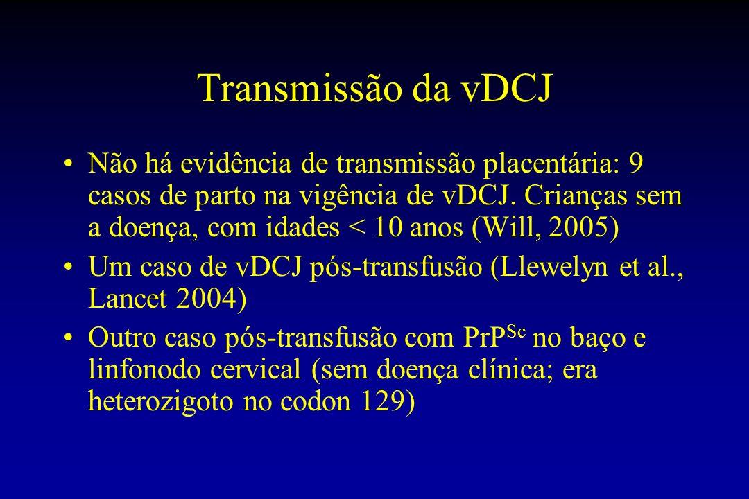 Transmissão da vDCJ Não há evidência de transmissão placentária: 9 casos de parto na vigência de vDCJ.