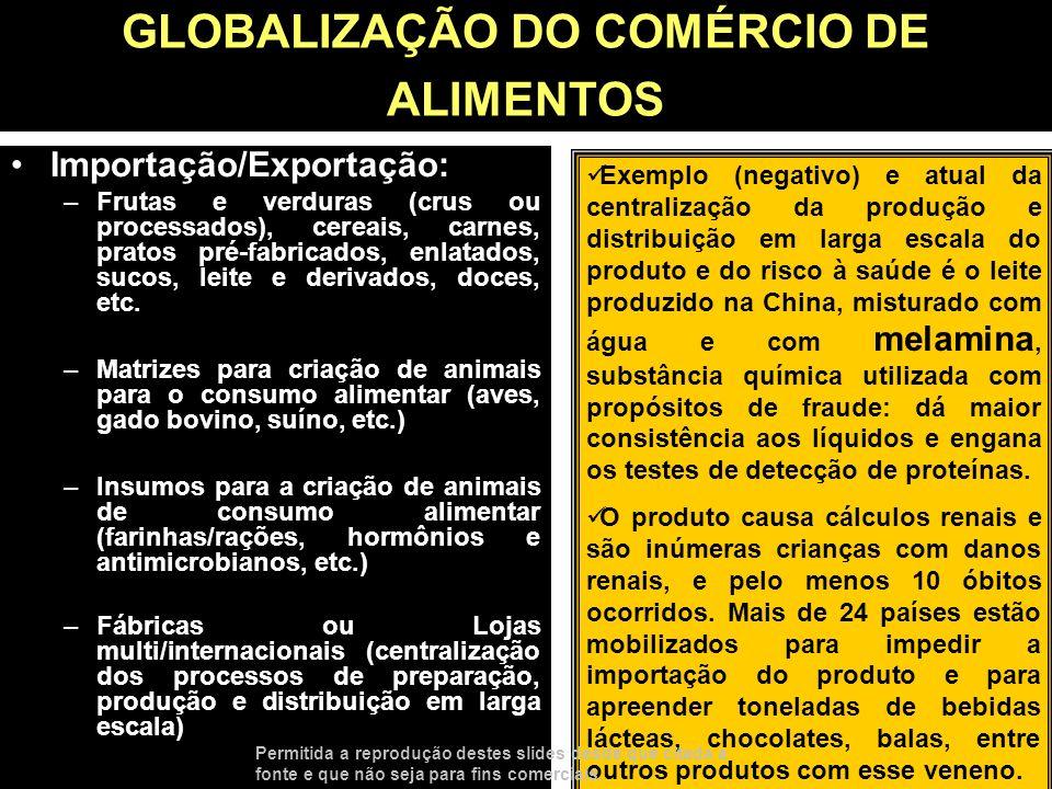GLOBALIZAÇÃO DO COMÉRCIO DE ALIMENTOS Importação/Exportação: –Frutas e verduras (crus ou processados), cereais, carnes, pratos pré-fabricados, enlatad