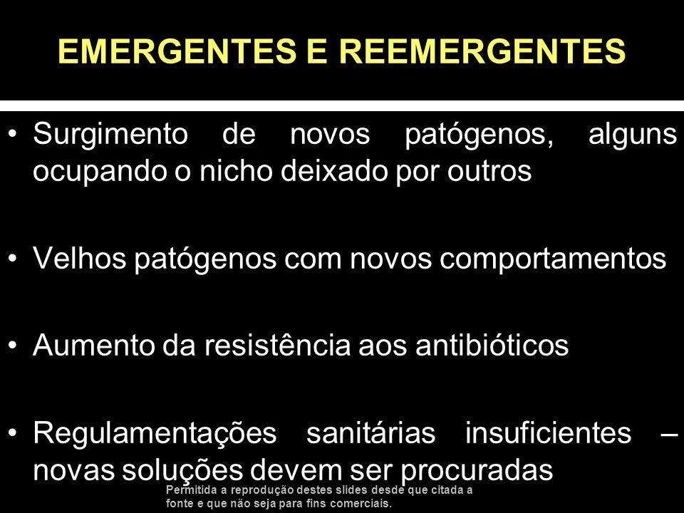 EMERGENTES E REEMERGENTES Surgimento de novos patógenos, alguns ocupando o nicho deixado por outros Velhos patógenos com novos comportamentos Aumento
