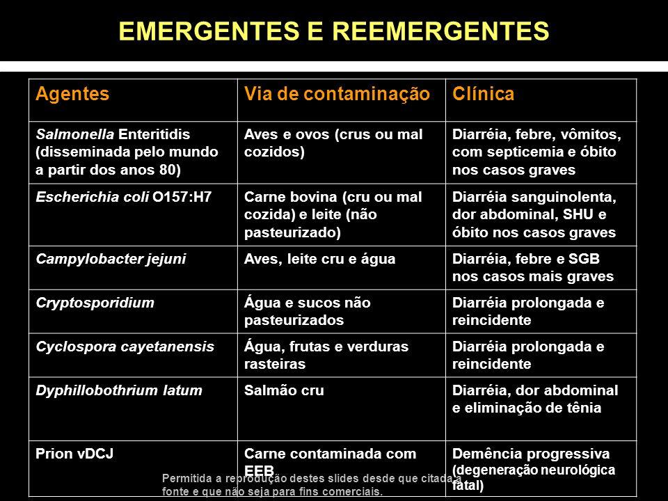 AgentesVia de contaminaçãoClínica Salmonella Enteritidis (disseminada pelo mundo a partir dos anos 80) Aves e ovos (crus ou mal cozidos) Diarréia, feb
