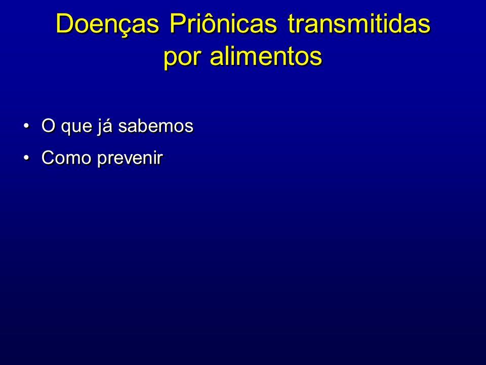 Doenças Priônicas: Encefalopatias Espongiformes Transmissíveis Grupo de doenças caracterizadas por: 1)progressiva vacuolização, morte neuronal associada a hipertrofia e proliferação glial 2) presença nos tecidos (principalmente no sistema nervoso) de um tipo de proteína estruturalmente anormal resistente a proteases denominada prion (pronuncia-se príon) Grupo de doenças caracterizadas por: 1)progressiva vacuolização, morte neuronal associada a hipertrofia e proliferação glial 2) presença nos tecidos (principalmente no sistema nervoso) de um tipo de proteína estruturalmente anormal resistente a proteases denominada prion (pronuncia-se príon)